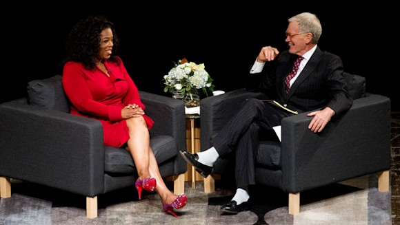 Delaware County Indiana - Oprah Winfrey interviews David Letterman at his Alma Mater, Ball State University